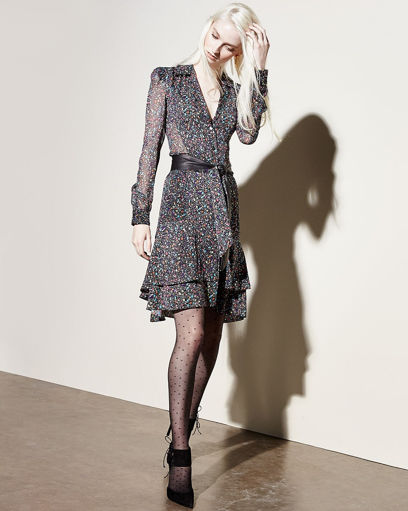 Diane von Furstenberg Tweed-Print Tie-Waist Long-Sleeve Dress