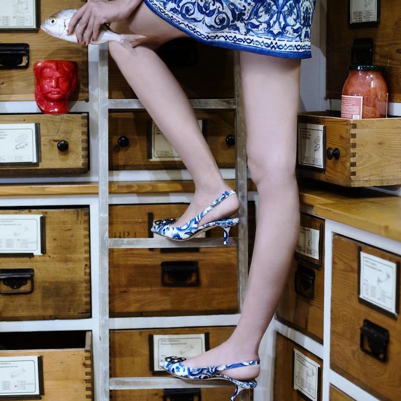 Dolce & Gabbana Maiolica Brocade Slingback Pumps