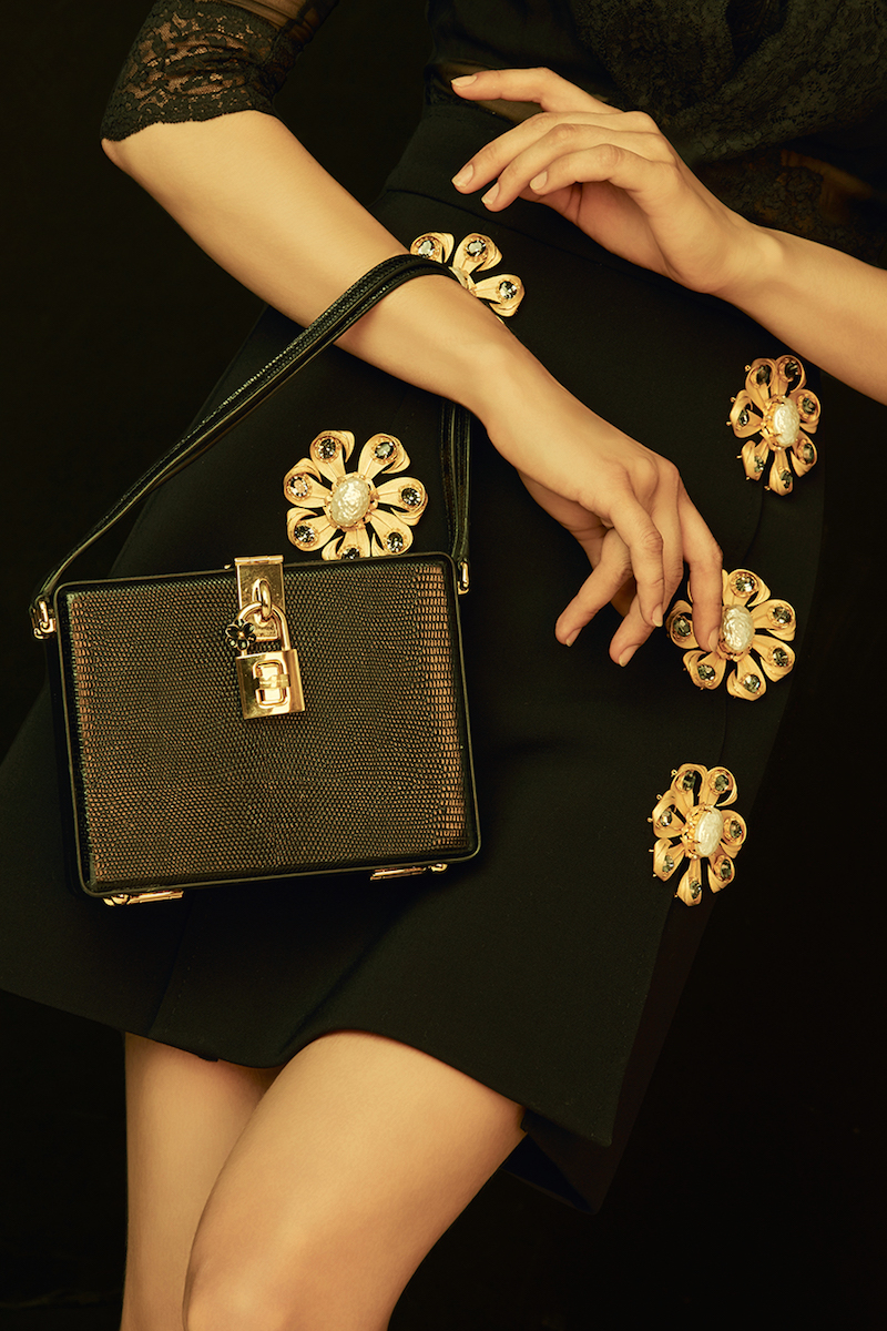 Dolce & Gabbana Wool Blend Crepe Mini Skirt with Floral Brooch Embellishment