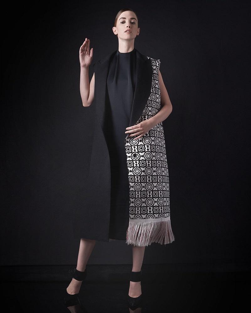 Edun Moroccan-Weave Long Fringe Vest & Sleeveless Mock-Neck Shift Dress