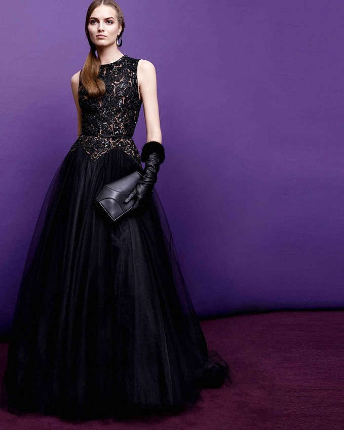 Elie Saab Beaded Contrast Tulle Gown