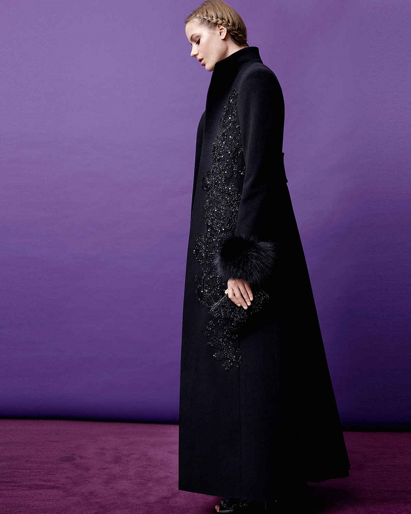 Elie Saab Fox Fur-Trimmed Beaded Coat