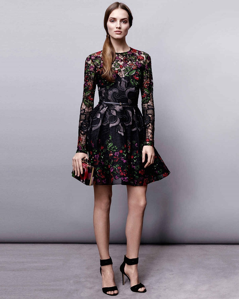 Elie Saab Long-Sleeve Embroidered Guipure Short Dress