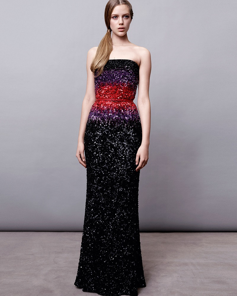 Elie Saab Strapless Ombre Beaded Gown