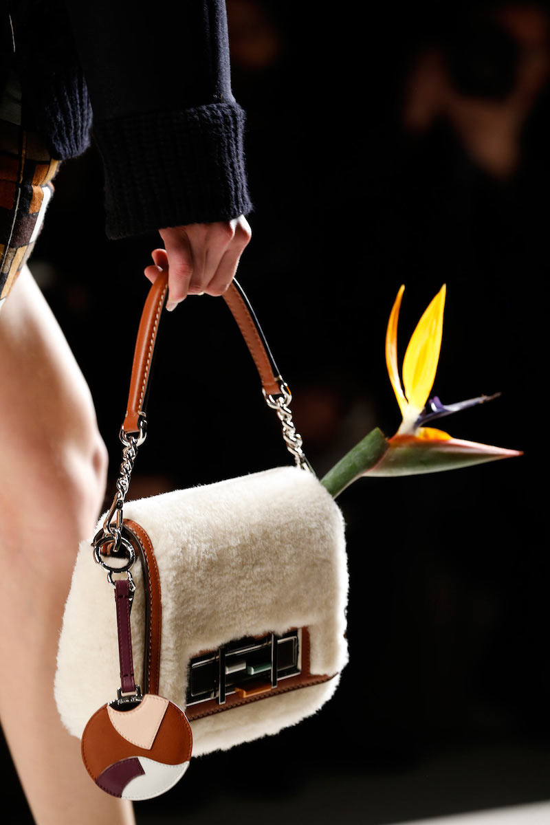 Fendi Baguette Shearling Fur Shoulder Bag