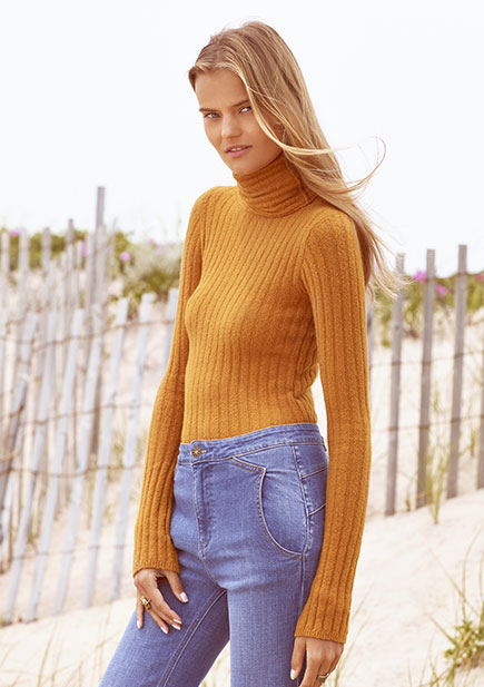 Free People Skinny Skinny Mock Neck Sweater