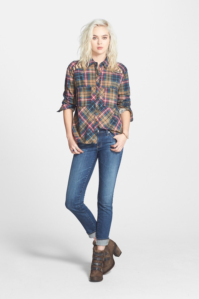 Free People Stitch Detail Plaid Shirt