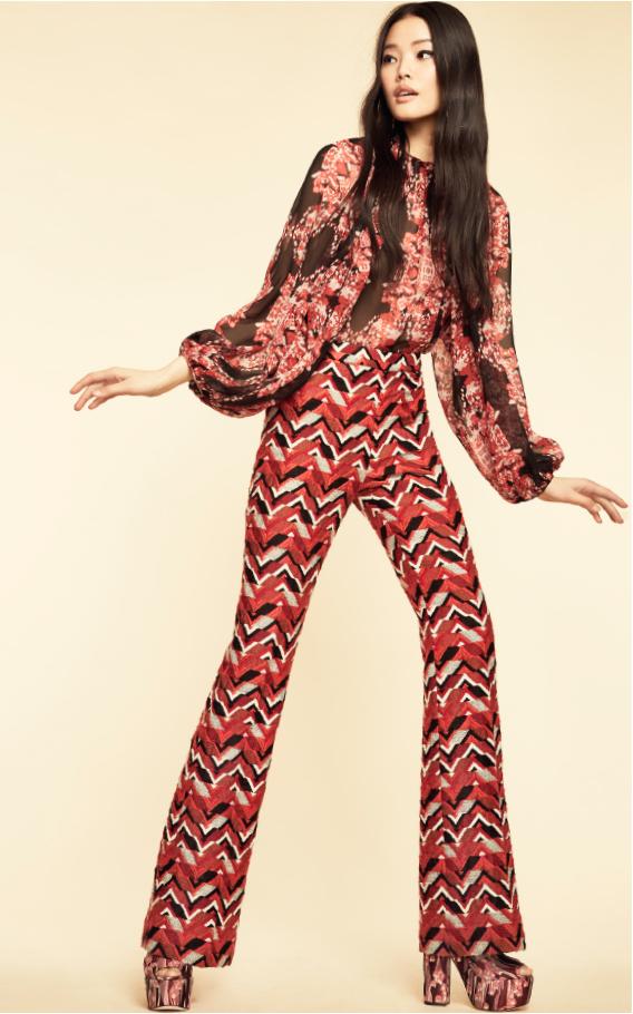 Giambattista Valli Red Long Sleeve Printed Blouse
