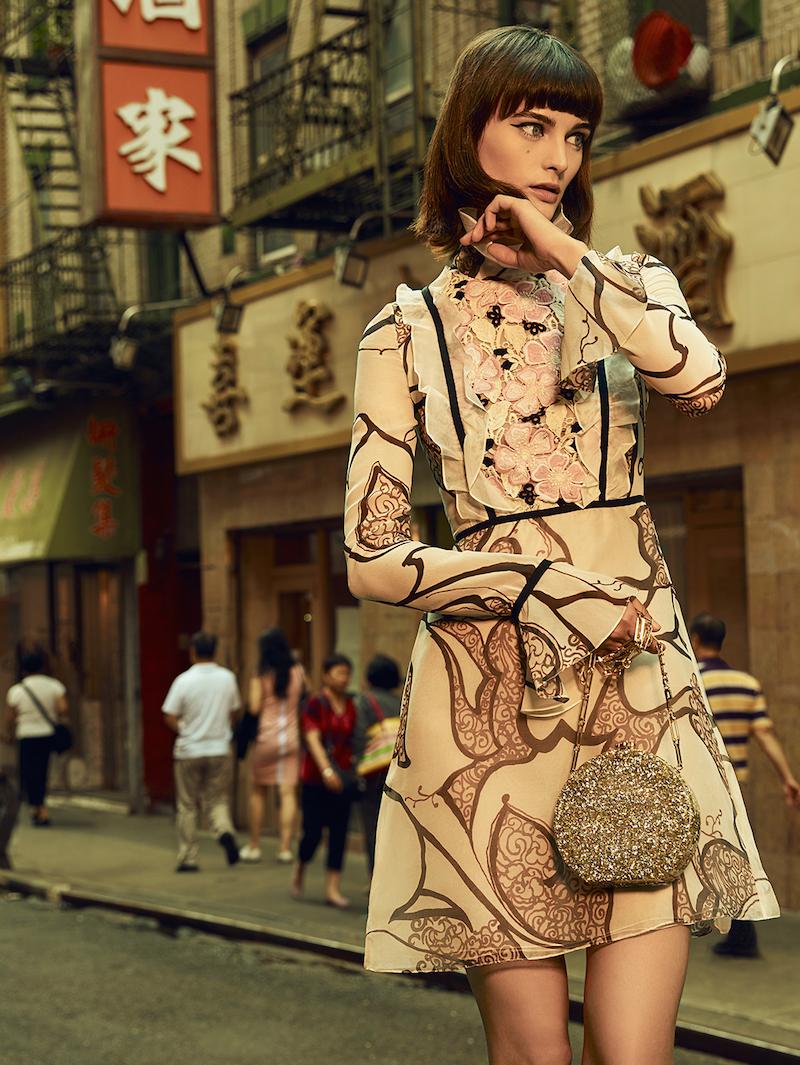 Giambattista Valli Silk Organza Ruffle Macramé Panel Dress