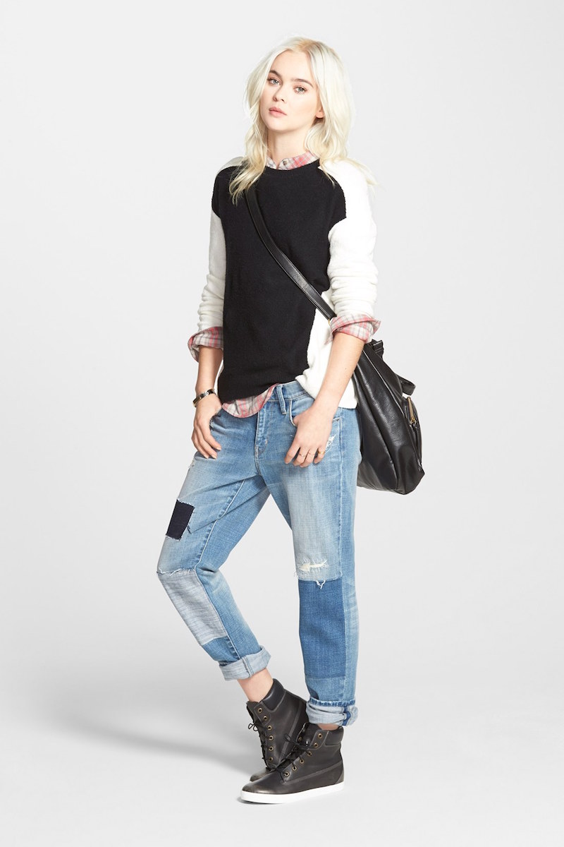 Hinge Colorblock Zip Back Sweater