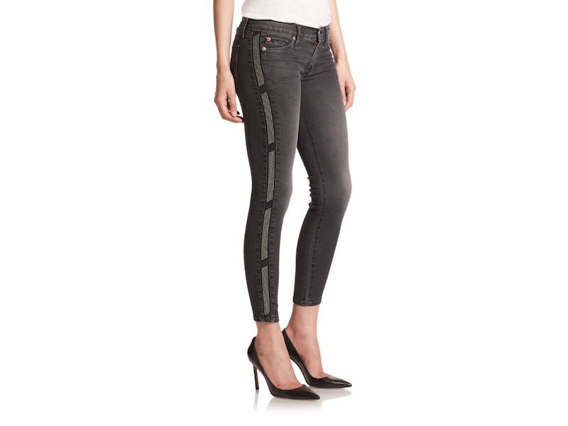 Hudson Embellished Tuxedo-Stripe Super Skinny Jeans_1