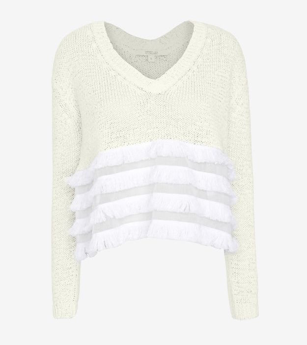 INTERMIX EXCLUSIVE Derek Lam 10 Crosby Tiered Fringe V Neck Sweater