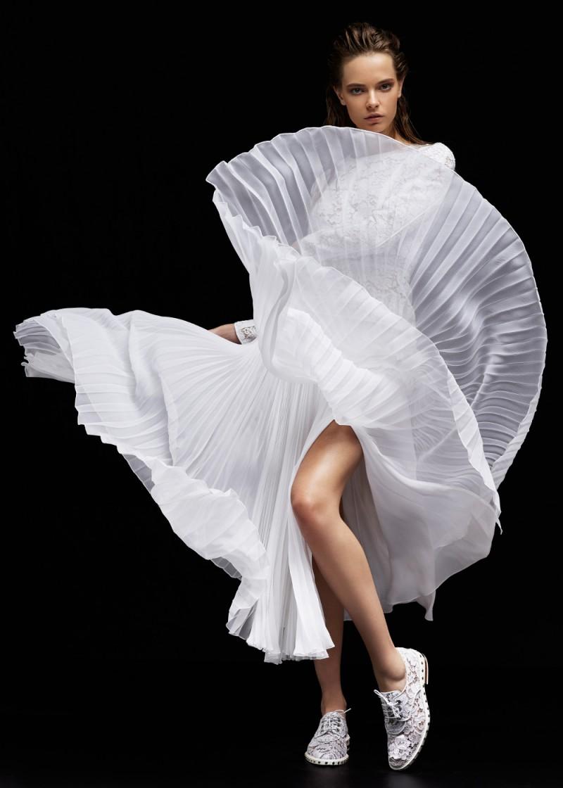 J. Mendel Floral Lace Long Sleeve Peplum Top