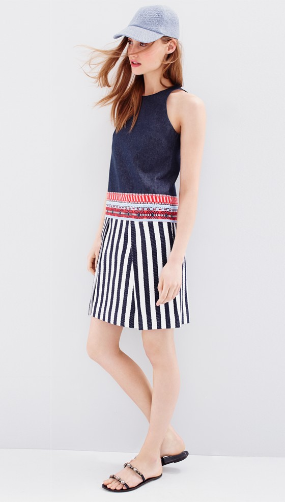 J.Crew Collection chambray striped tapestry dress