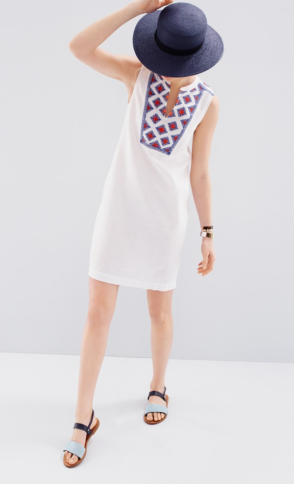 J.Crew Sleeveless embroidered sunburst dress