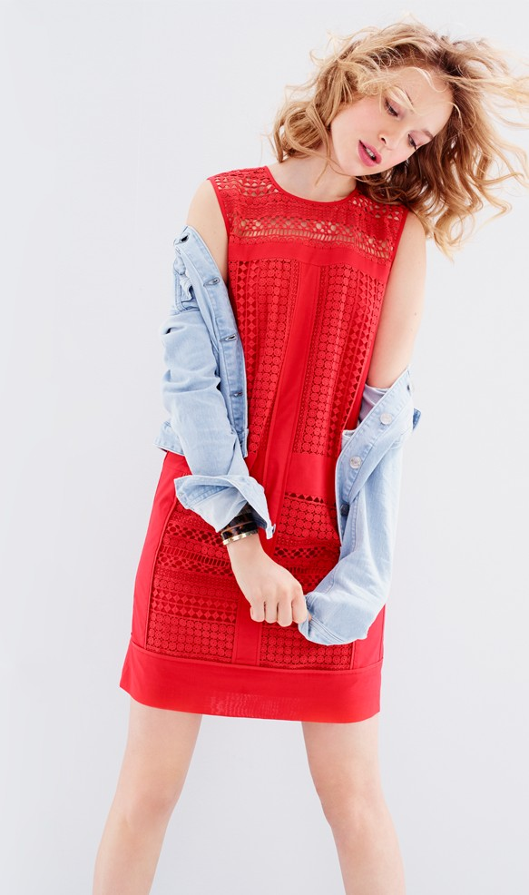 J.Crew Sleeveless geo-lace shift dress