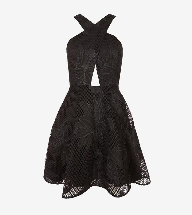 Jay Godfrey Floral Mesh Cut Out Dress_1