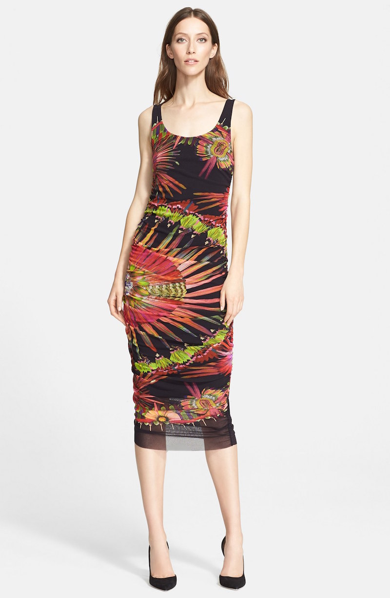 Jean Paul Gaultier Feather Print Ruched Tulle Tank Dress