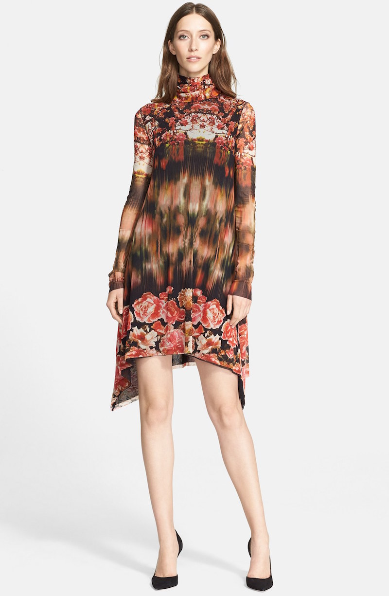 Jean Paul Gaultier Print Turtleneck Tulle Trapeze Dress