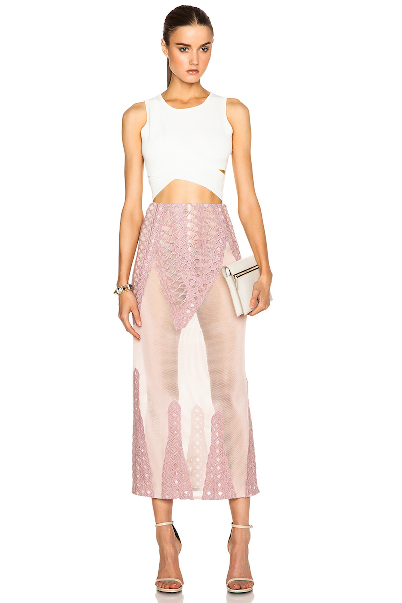 Jonathan Simkhai Tread Lace Inset Angel Skirt