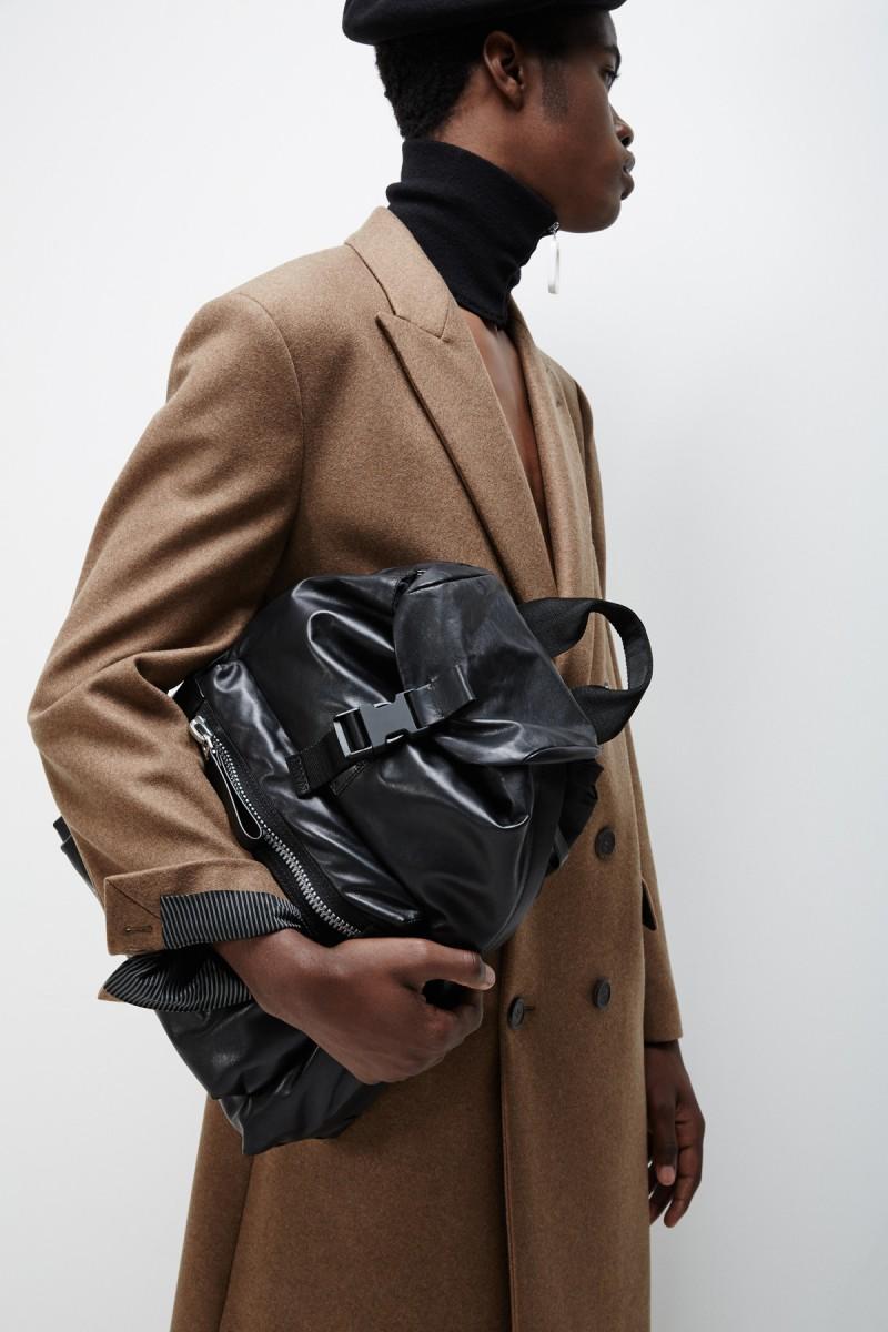 Lanvin Black Paper Effect Leather Backpack