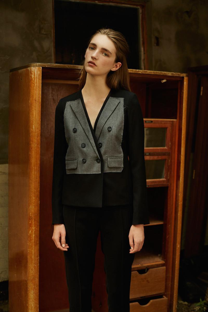 MM6 Maison Margiela Black & Grey Patch Wool Blazer