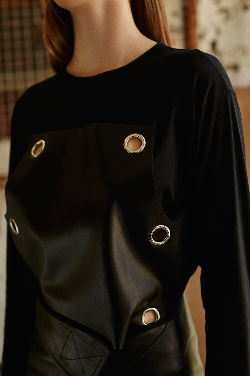 MM6 Maison Margiela Black Leather Panel T-Shirt
