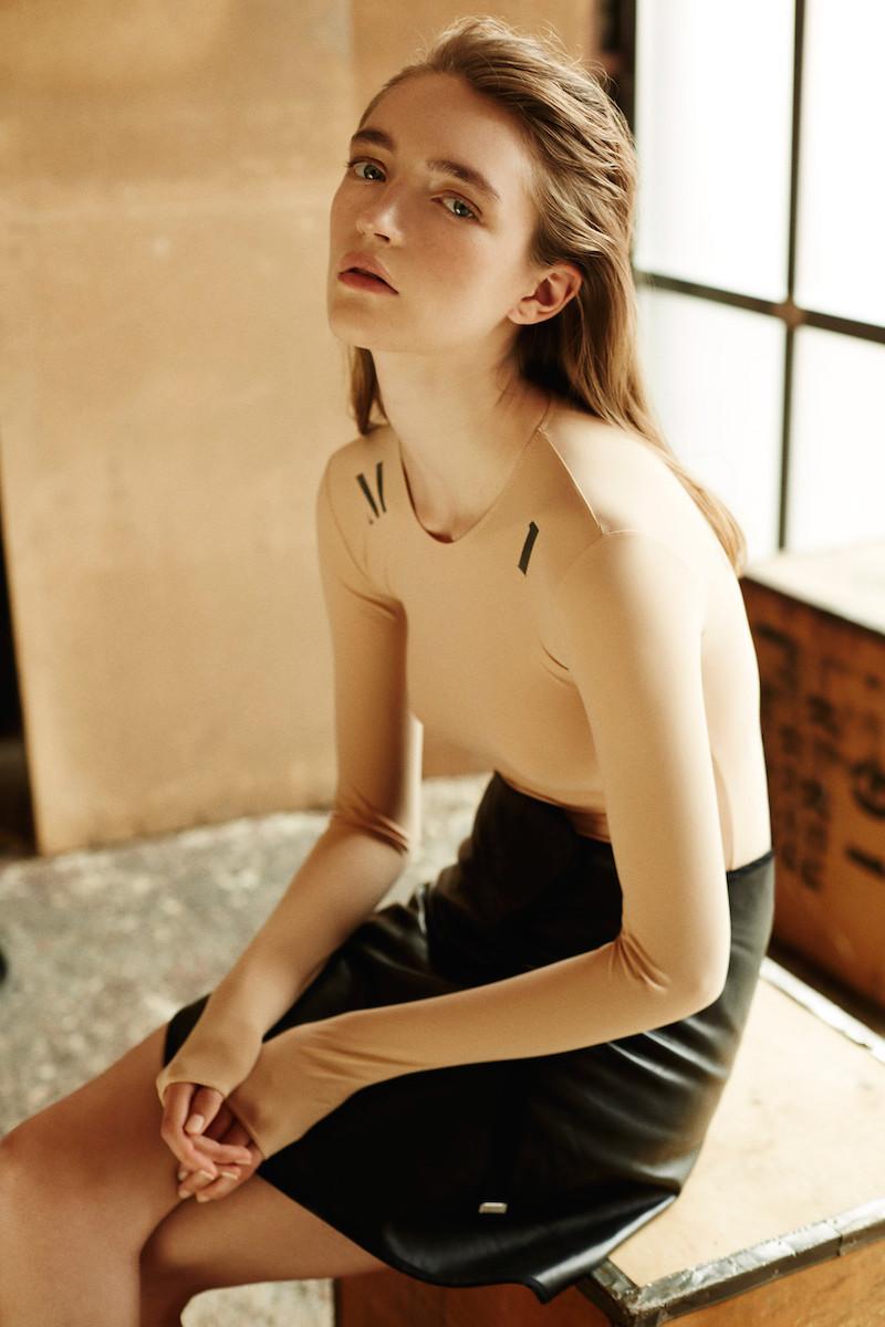 Maison Margiela Beige Technical Jersey Long-Sleeve Bodysuit
