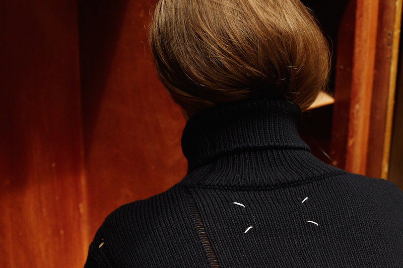 Maison Margiela Navy Distressed Turtleneck Sweater