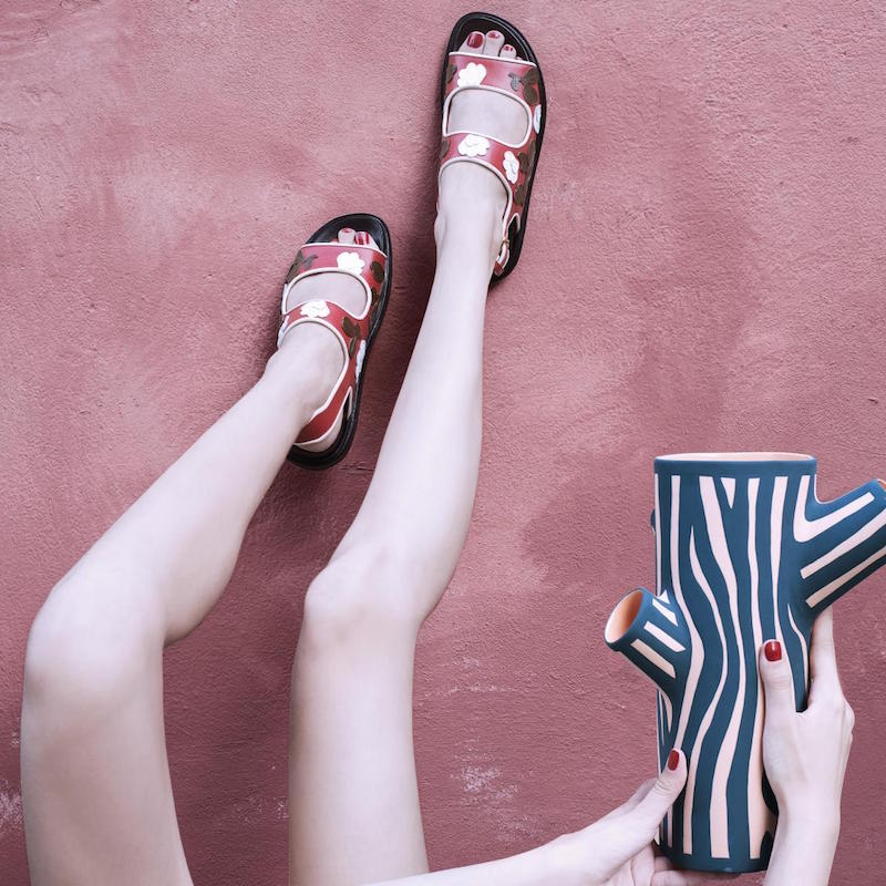 Marni Floral-Paneled Leather Sandals
