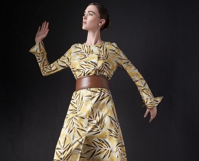 Marni Leaf Toile Back-Slit Dress