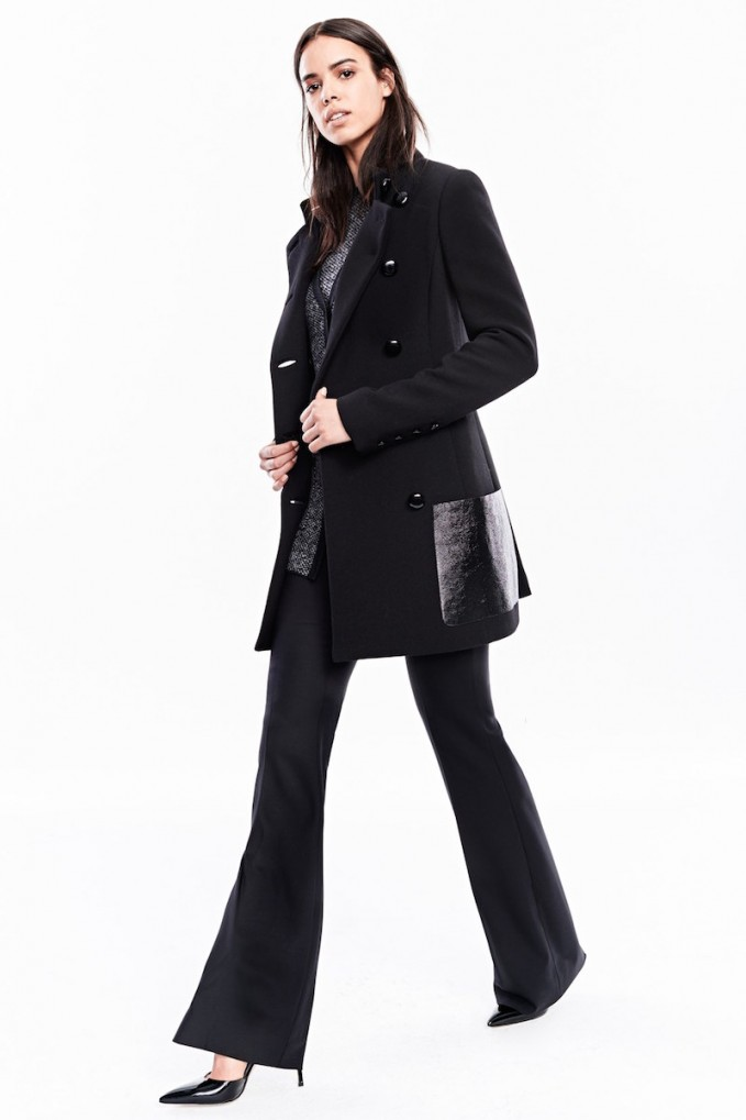 Michael Kors Double Breasted Leather Trim Duvetine Wool Crepe Jacket