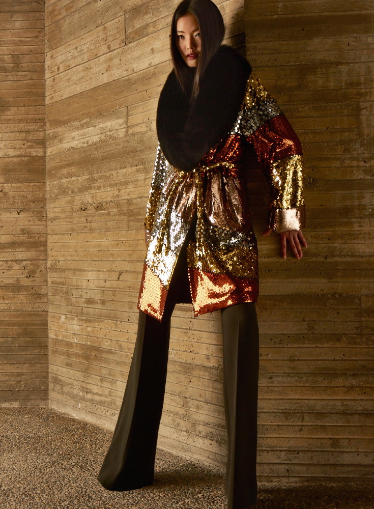 Moschino Color Block Sequinned Coat With Fur Collar