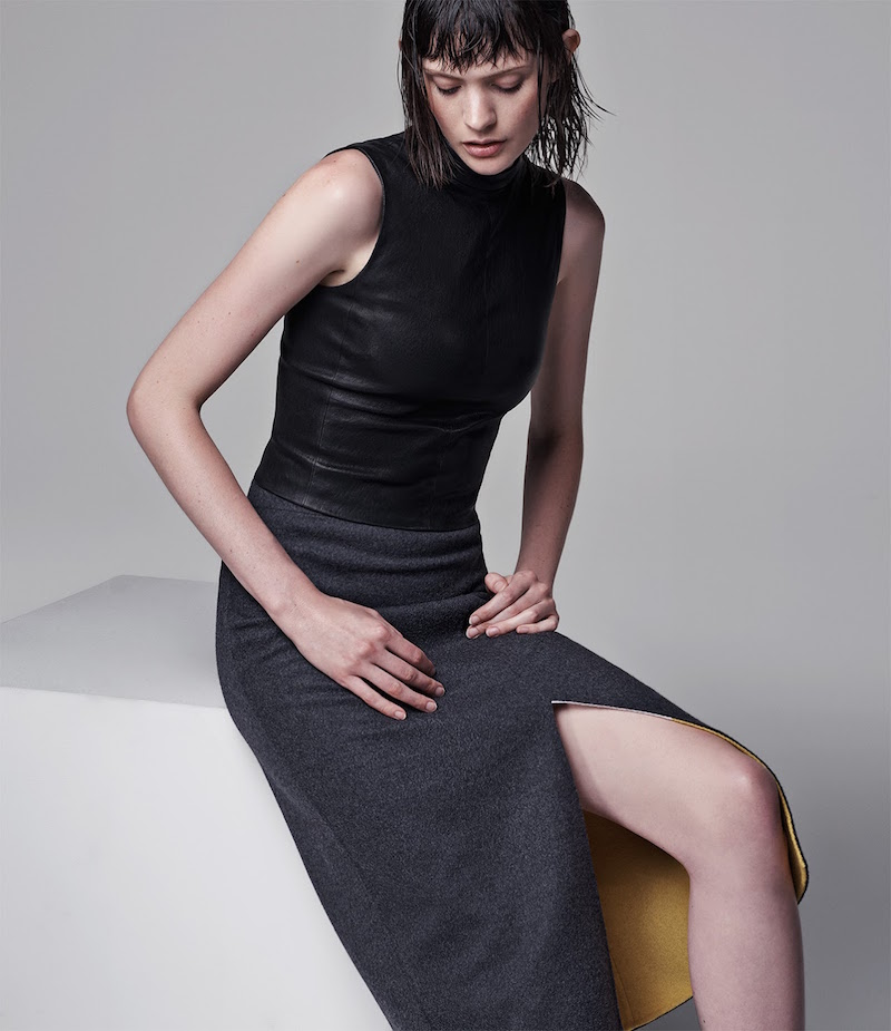Narciso Rodriguez Lambskin Fitted Crop Top
