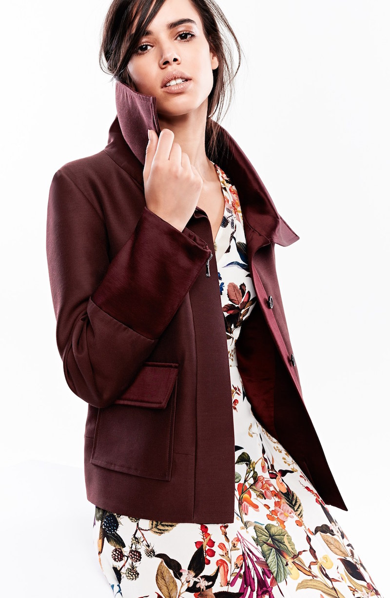Nordstrom Signature and Caroline Issa Annabelle Wool & Silk Coat
