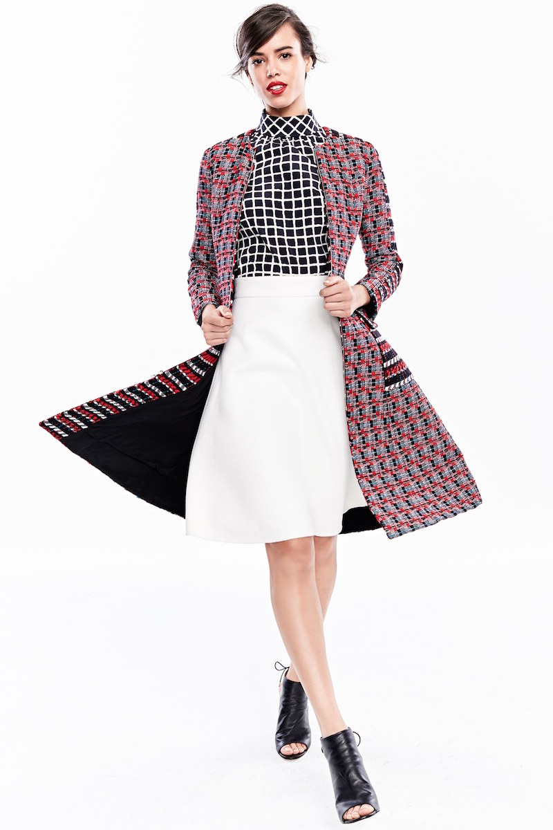 Oscar de la Renta Check Tweed Cotton & Wool Coat