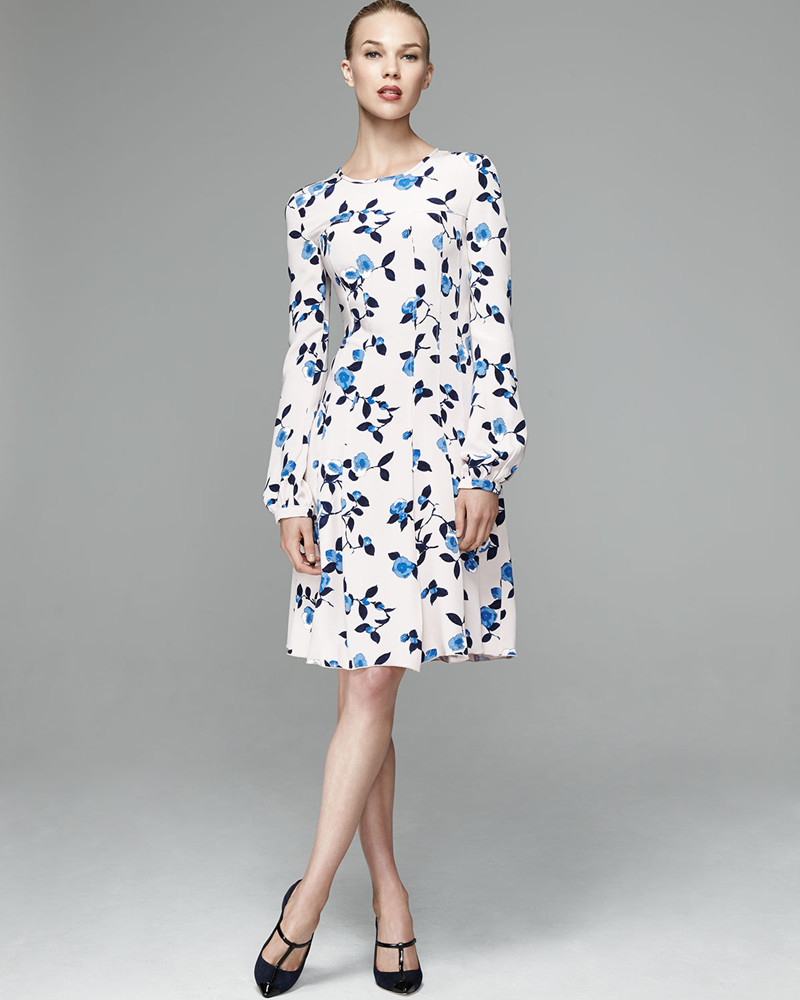 Oscar de la Renta Scattered Pansies-Print Crepe Dress