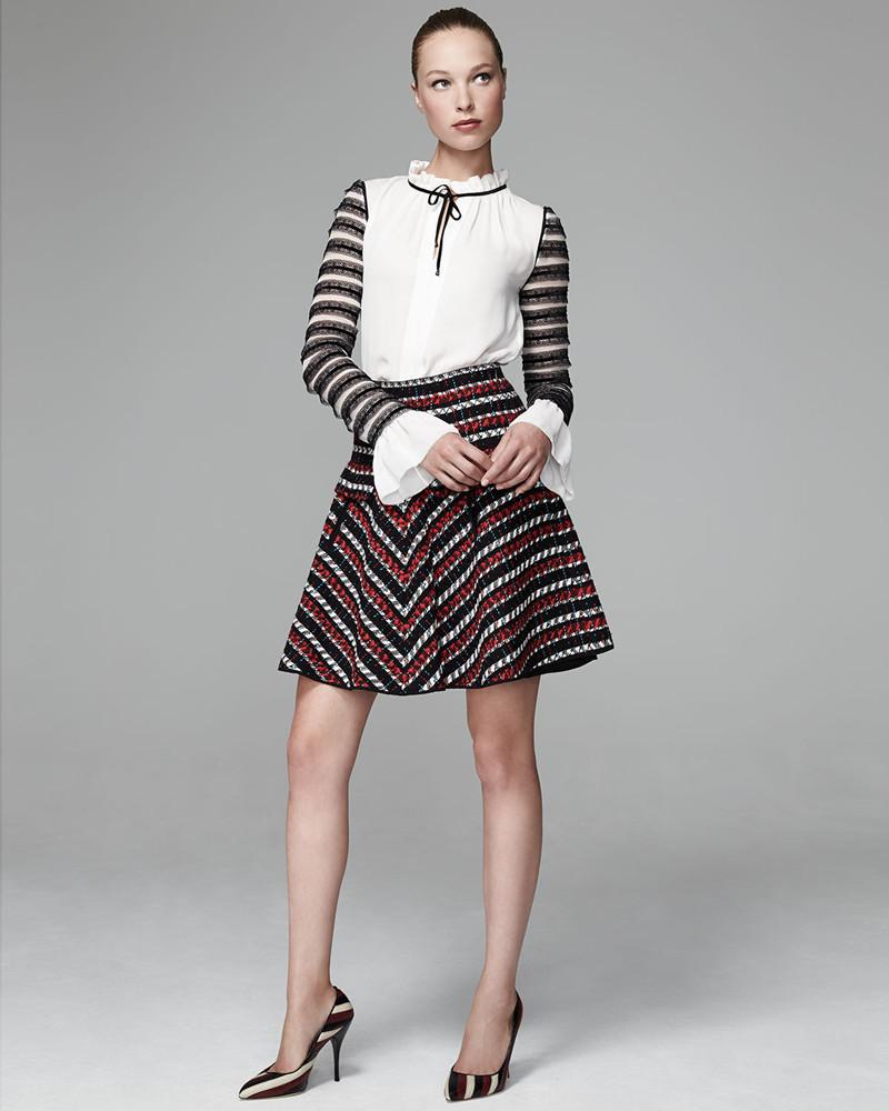 Oscar de la Renta Silk Tie-Neck Lace-Stripe Blouse