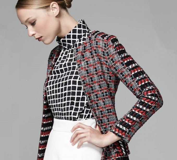 Oscar de la Renta Stand-Collar Grid-Print Blouse