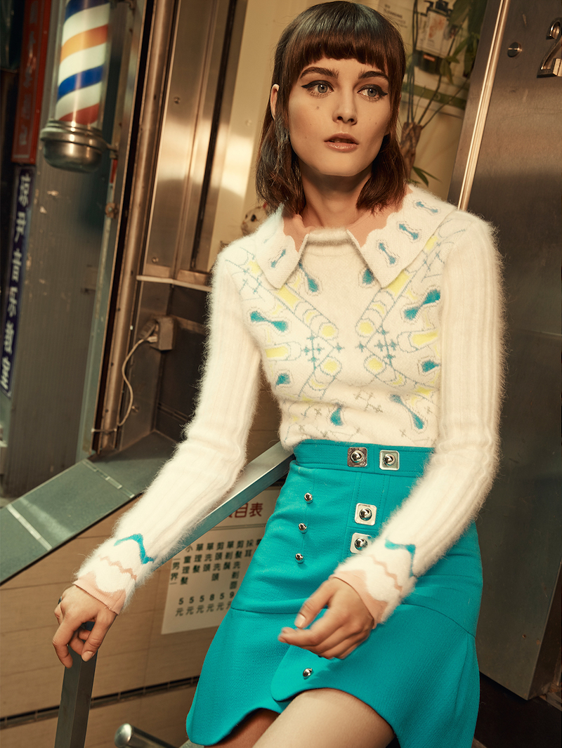 Peter Pilotto White Angora Wool Blend Collared Snowflake Pullover