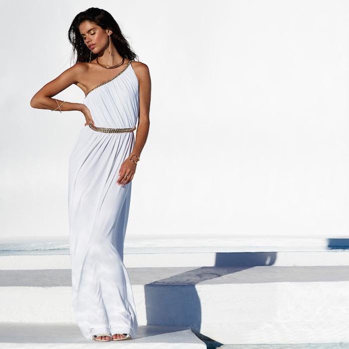 RACHEL ZOE Lillith Shirred Toga Maxi Dress