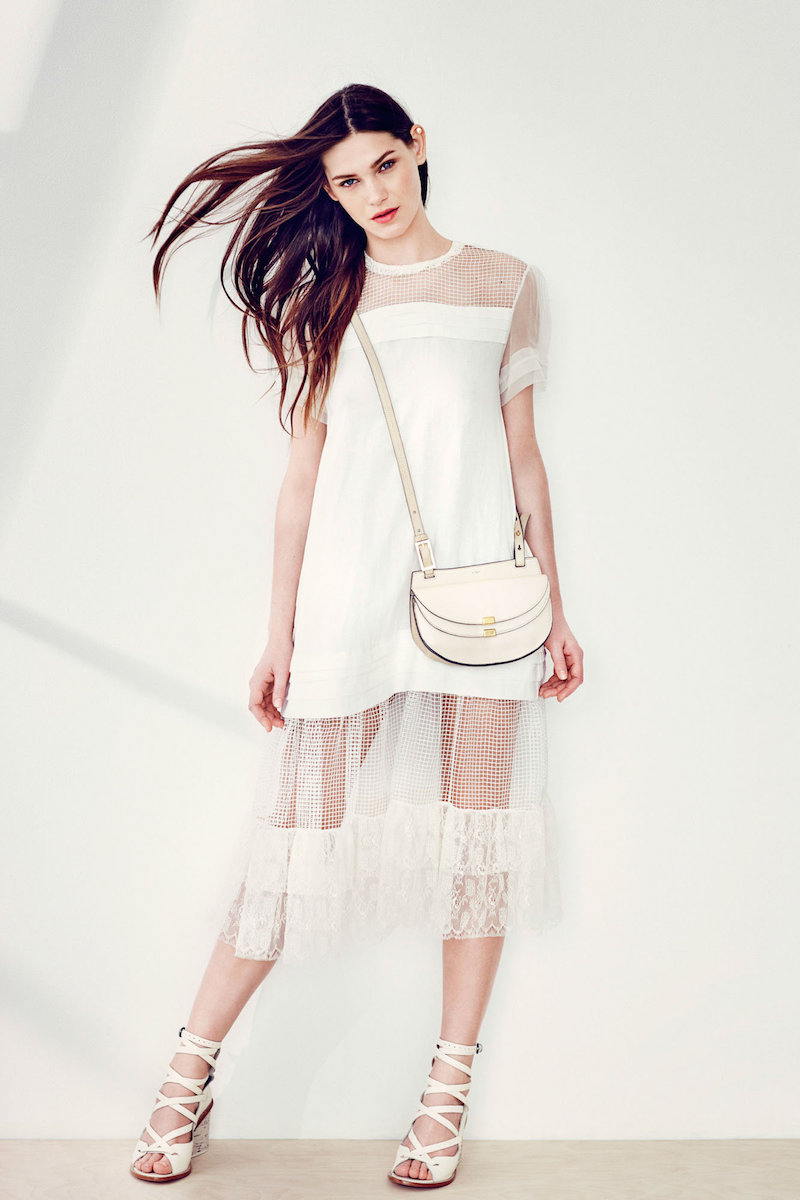 Rochas Ivory Linen Short Sleeve Dress With Netting Details