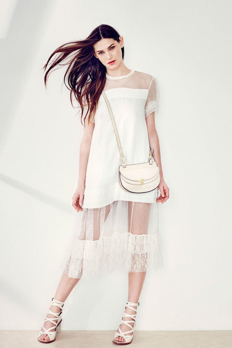 Rochas Ivory Linen Short Sleeve Dress With Netting Details
