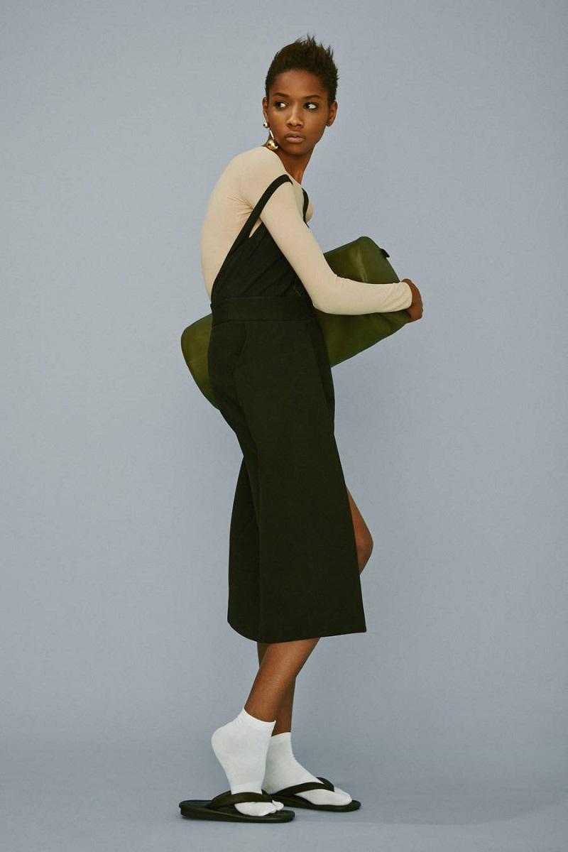 Rosetta Getty Black Foldover Panel Skirt