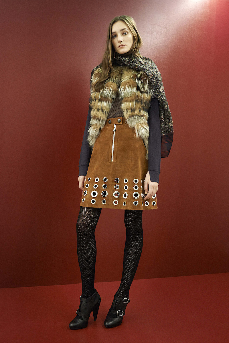 Sonia Rykiel Eyelet-embellished Suede Skirt