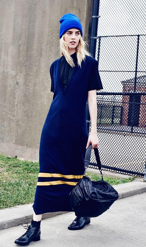 T by Alexander Wang Merino Stripe Dress