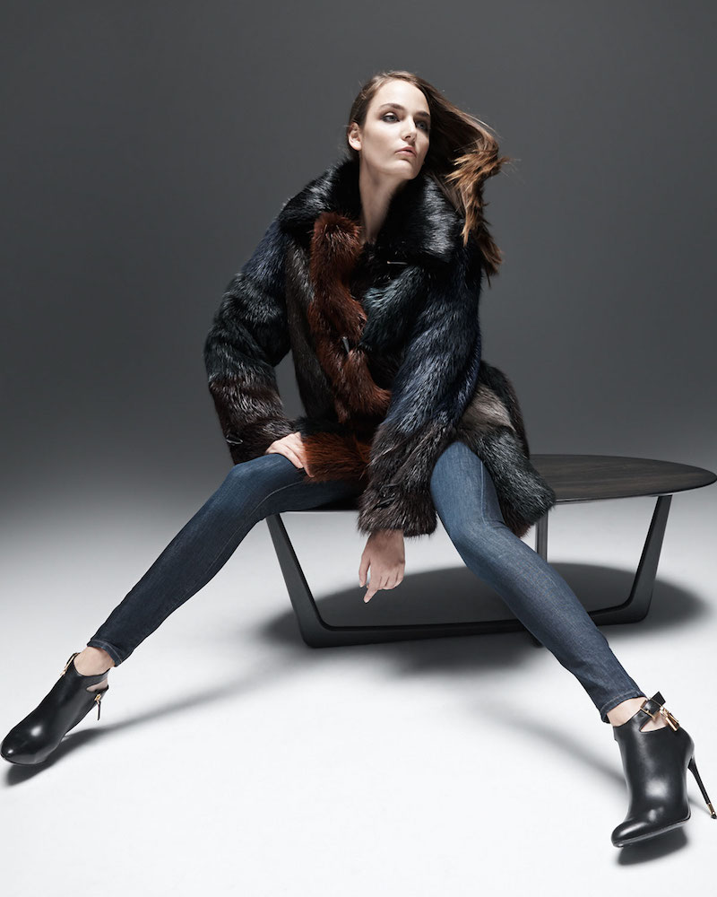 TOM FORD Fur Colorblock Long Toggle Coat
