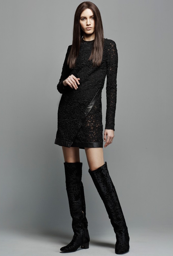 TOM FORD Leather-trimmed Lace Mini Dress