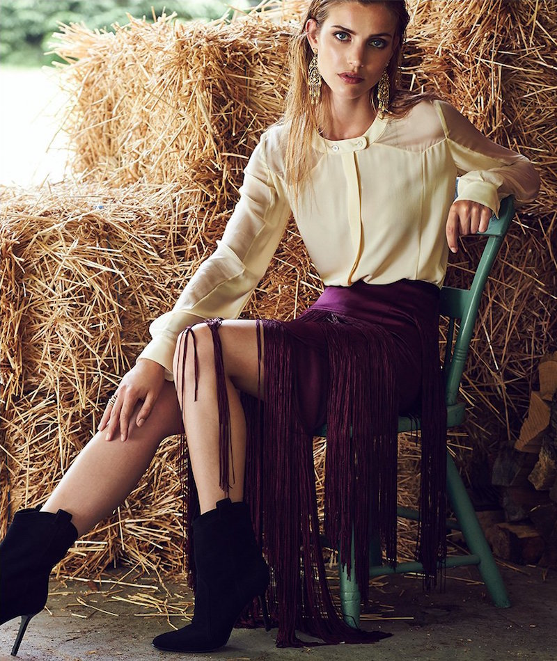 Tamara Mellon Layered Fringe Skirt