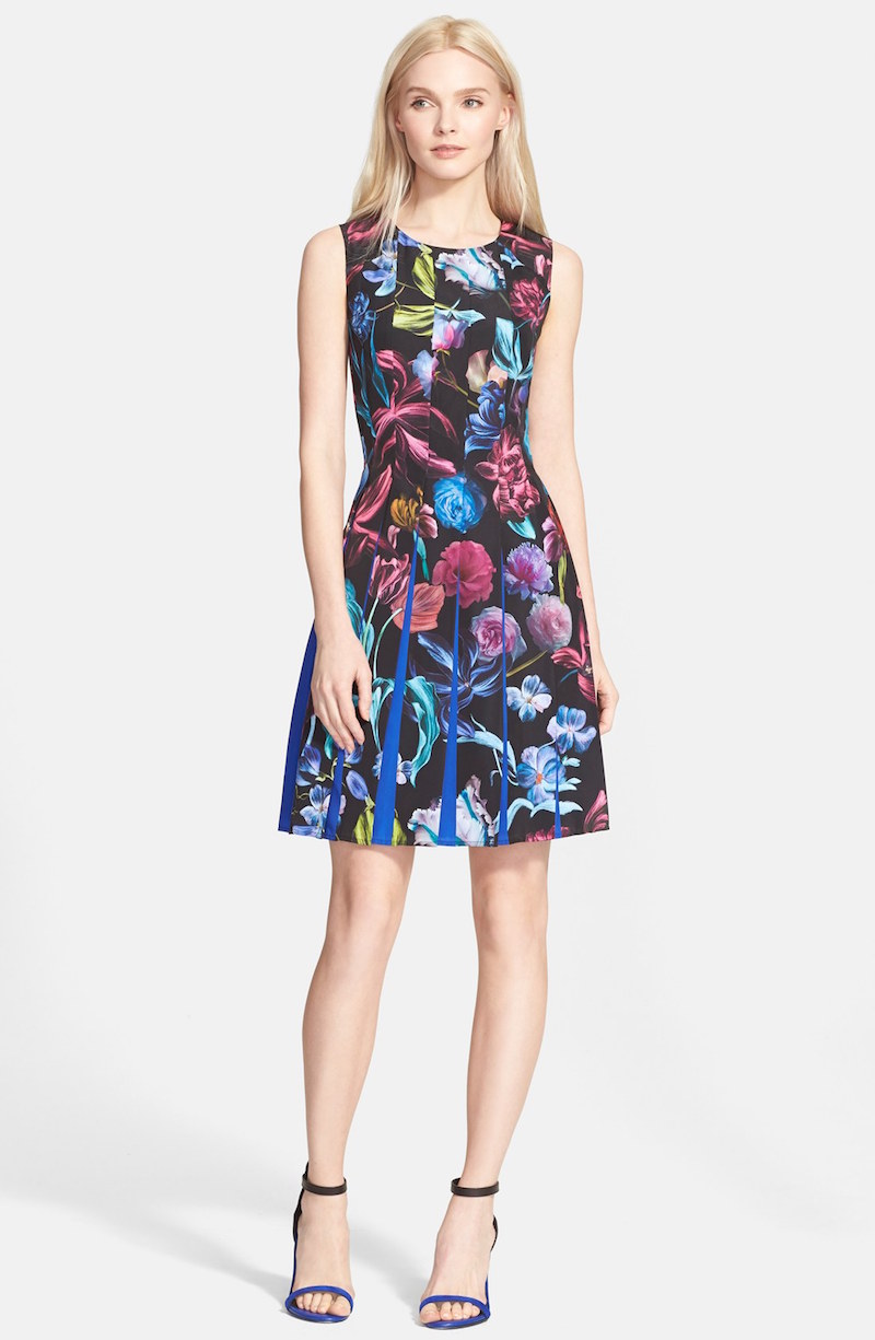 Ted Baker London Edelfi Floral Print Pleated Fit & Flare Dress